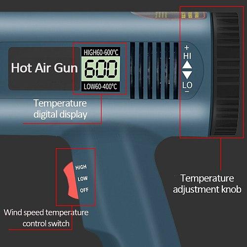 220V 2000W EU Advanced Hot Air Gun Temperatures Adjustable Digtal Display With 6pc Nozzles Electric Heat Gun