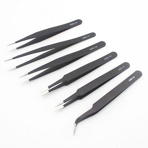 6Pcs Anti-static ESD Stainless Steel Tweezers Maintenance Tools Industrial Precision Curved Straight Tweezers Repair Tools