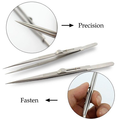 New Durable 165mm Precision Adjustable Slide Lock Tweezer for Jewelry Electronic Components Holding Tightly Repair Tool