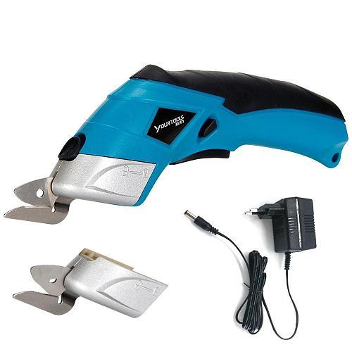 4V Cordless Electric Scissors Fabric Leather Cloth Box Cutter Rechargeable Lithium Battery Sewing Cutting Power Tool