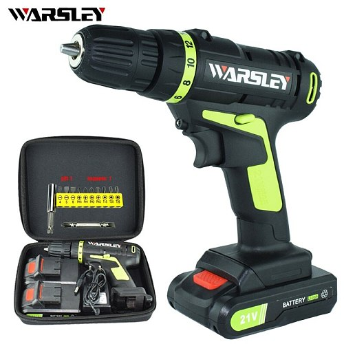 21V electric Screwdriver2battery screwdriver cordless drill power tools professional electric torque screwdriver electric drill