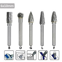 XCAN Tungsten Carbide Burr File 5pcs 6x10mm  B D G L F Type Carbide Rotary Milling Cutter for Dremel Rotary Tools