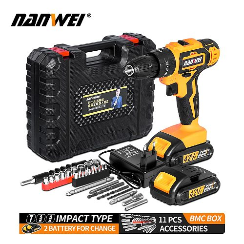 NANWEI Electric Screwdriver Cordless Drill Impact Drill Power Driver 21V 2-Speed