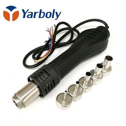 Heat Gun Hot Air Desoldering Gun Handle FOR 858 858D 8586 8858 878A 878 Rework Soldering Station BGA Repair with 5pcs Nozzle