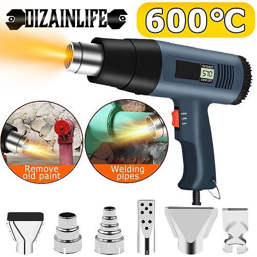 2000W 220V EU US Electric Hot Air Gun Thermoregulator Heat Gun LCD Digital Display Soldering Shrink Wrapping Thermal Power Tool