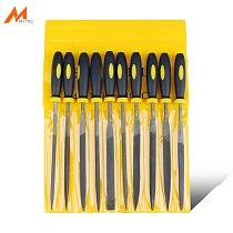 10pcs Metalworking Steel Needle Files Set Assorted 140/160/180mm Flat Warding, Square, Triangular, Round, Half-Round File Tool