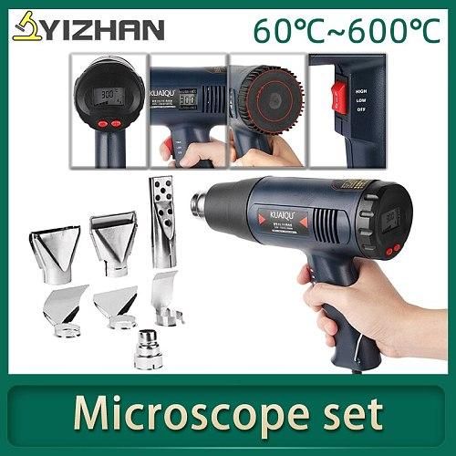 Soldering hot air gun Heat gun Air dryer for soldering Temperature controlled Building Hair Dryer 7 Nozzle 220V 1800W by KUAIQU