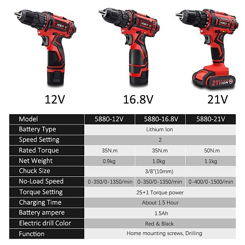 21V 16.8V 12V screwdriver cordless electric drill mini cordless drill lithium ion battery screwdriver household DIY power tools