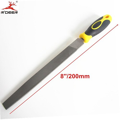 RDEER 8''/200mm Flat Files Fine Tooth 2-Color Handle Double lines Diamond Needle Files Hand Tools