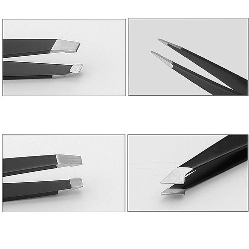 4 Piece Set Stainless Steel Clip Cosmetic Eyebrow Pliers With Case Slant Tip Hair Removal Polished Professional Tweezer