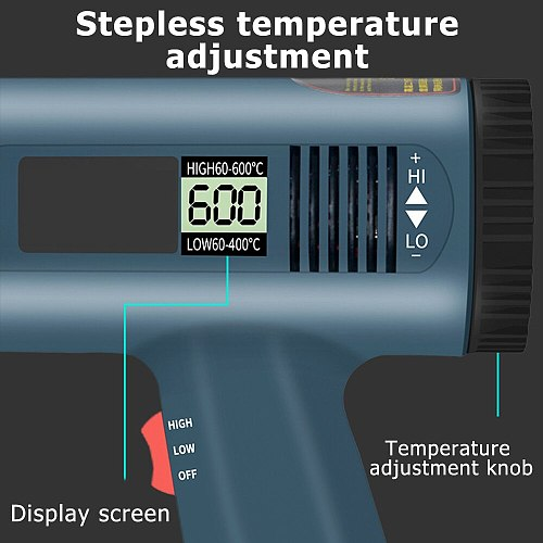 2000W 220V EU Industrial Electric Hot Air Gun LCD Display Thermoregulator Heat Guns Portable Shrink Wrapping Thermal  Power Tool