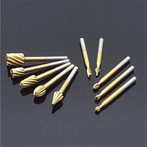 10pcs Set HSS Titanium Dremel Routing Rotary Milling Rotary File Cutter Wood Carving Carved Knife Cutter Tools Accessories