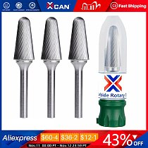 XCAN Type L Carbide Burrs 6mm Shank Rotary Tool File Single Cut Rotary Carving Milling Cutter Rotary Burr File