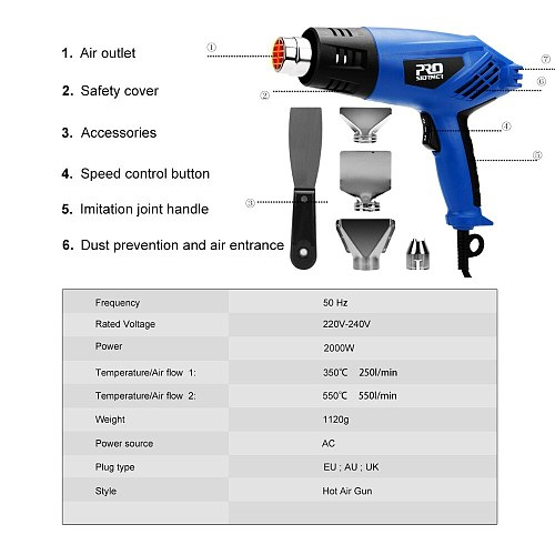 2000W Heat Gun Industrial Electric Hot Air Gun Dual Temperature-Controll Adjustment Hair Dryer Temperature Nozzle By PROSTORMER