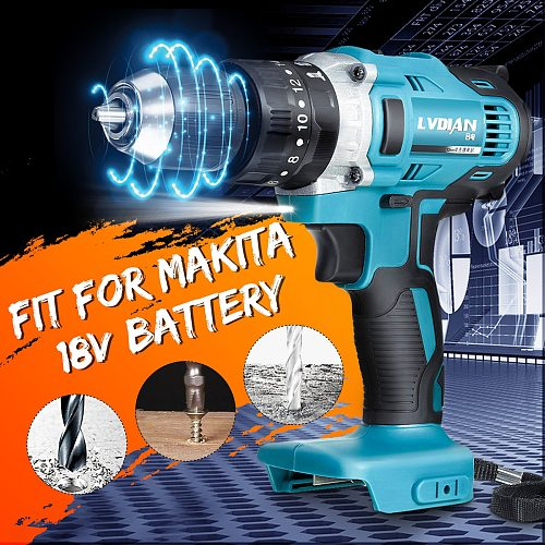 3-In-1 Electric Cordless Impact Drill 2-Speed Rechargable 13mm Electric Screwdriver Drill Li-Ion Battery For Makita Battery 18V
