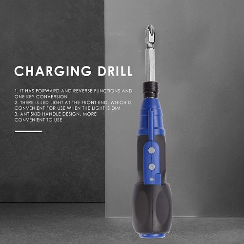 Household Mini Electric Screwdriver Straight Rod Anti-slip Handle Charging Drill For Household Electricity Tools Accessories