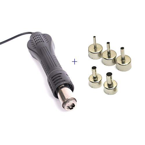 Hot Air Gun Desoldering Soldering Heat Gun Handle For 858D 8586 8858 852 878 952 853 Rework Solder Repair Station 5pcs Nozzles