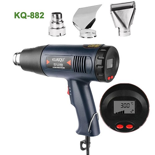 Digital Display Electric Hot Air Gun Temperature-controlled Building Hair dryer Heat gun Soldering Tools Adjustable + 3Nozzle