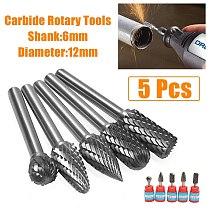 5pcs/set 5 Head Tungsten Carbide 12mm Rotary Point Burr Die Grinder 6mm Shank Bit Kit Set