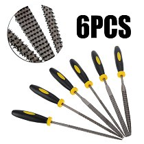 6pcs Needle Files Plastic Handle Flat Square Round Needle Files Set  Woodworking Metal Cutter File Tools