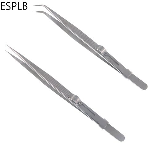 6.3'' Slide Lock Stainless Steel Presicion Adjustable Tweezers Straight/Curved Tip Anti Static Tweezers for Jewelry Electronic