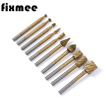 10pcs HSS Titanium Routing Router Drill Bits Set Dremel Carbide Rotary Burrs Tools Wood Stone Metal Carving Milling Cutter