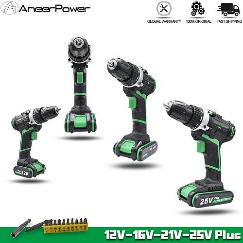 12V 16V 21V 25V Electric Drill Rechargable Screwdriver Cordless Hand Drill Mini 2Speed Electric Screwdriver Li-ion Battery Drill