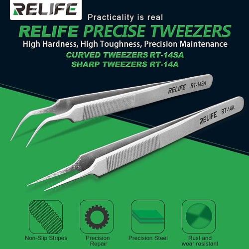 Relife RT-14A RT-14SA Mobile Phone Repair Tweezers Anti-static anti-slip clip high toughness precision fine tip plus chip repair