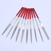 10 pcs diamond needle file set flat triangle round engraving file glass mini diamond files for metal ceramic 140mm