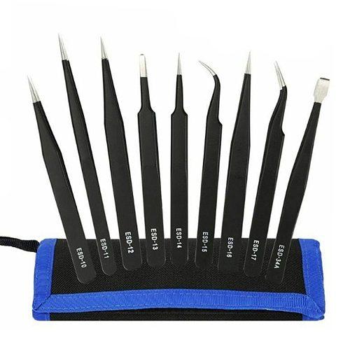 6/10Pcs ESD Tweezers Tool Set High Precision Antistatic Tip Curved Straight Nipper Repair Tool Kit Multifunction Tweezer