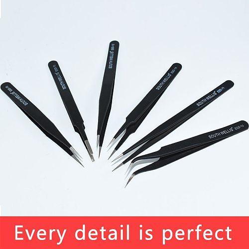 Tweezers Set Anti-Static Stainless Steel Curved/Straight Industrial Precision Tweezers Repair Tools