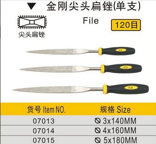 BESTIR taiwan excellent quality 120mesh 3*140MM 4x160mm 5x180mm sharp end tool flat file diamond steel precision work hand tool