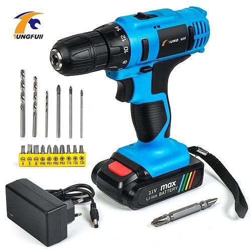 Tungfull Cordless Rechargeable Screwdriver Li ion Torque Drill Mini Electric Screwdriver Home Waterproof Power Tools Eu Plug 21V
