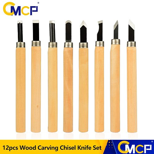 CMCP 12pcs Wood Carving Chisel Knife Set For Detailed Woodworking Gouges Hand Tools Wood Carving Tools