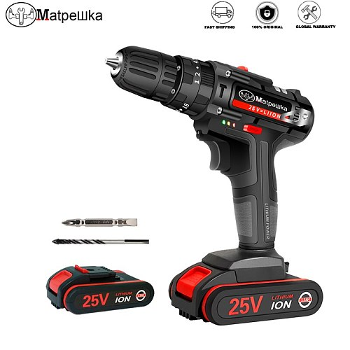 25V High Quality Electric Screwdriver Impact Drill Cordless Rechargeable Lithium-ion Battery Electric Drill Power Tools + Gifts