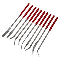 160 x 4mm Lapidary Bent Curved Diamond Needle Files Red Handle 10 Pcs