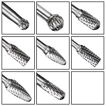 CMCP Tungsten Carbide Rotary File Set 8pcs Double Cut Rotary Burr 6mm Shank Carving Milling Cutter For Metal Milling