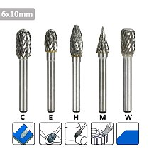XCAN Double Cut Rotary Burr 5pcs 6mm Shank C E H M W Type Rotary File Milling Cutter Tungsten Carbide Burrs