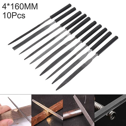 10pcs 4x160mm Trimming Steel File Set Semi-circular Flat Head Triangle Square File Combination Knife Edge Files For Woodworking