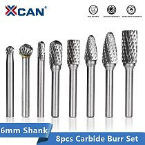 XCAN Carbide Rotary Burr 8PCS 6mm Shank Rotary Cutter File for Metal Milling  Double Cut Rotary Burr File