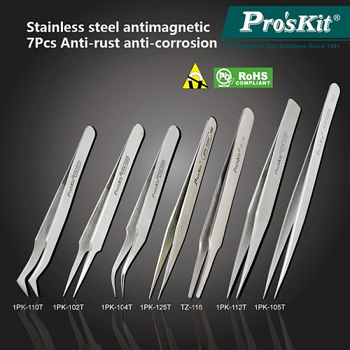 Proskit 7Pcs Anticorrosive Electronic Tweezers Precision Stainless Steel Long Tweezers Set Forceps Pincette Clamps For Soldering