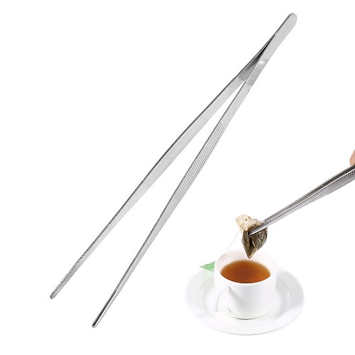 Kitchen Tweezers Stainless Steel Silver Tweezers Long Food Tongs Straight Home Tweezers Garden Kitchen Tool 30cm