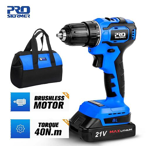 21V 40NM Brushless Cordless Electric Drill 5pcs Drill Bit 2000mAh LED Lights Battery Household woodworking tools by PROSTORMER