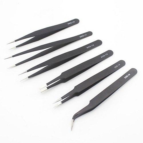 6/10Pcs Tweezers Tools Kit ESD  Antistatic Tip Curved Straight Stainless Steel Tweezers Nipper Repair Tool New