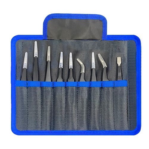 9 pcs/set Anti-static ESD Stainless Steel Tweezers Maintenance Tools Industrial Precision Curved Straight Tweezers Repair Tools