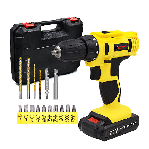 GOXAWEE 12V 21V Electric Screwdriver Mini Cordless Drill Wireless Power Driver Tools Rechargeable Lithium Battery Screwdriver