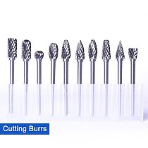 10Pcs 1/8'' Tungsten Steel Solid Carbide Burr Rotary Cutting Burrs for Metal Aluminum Iron Drilling Carving Rotary Tool