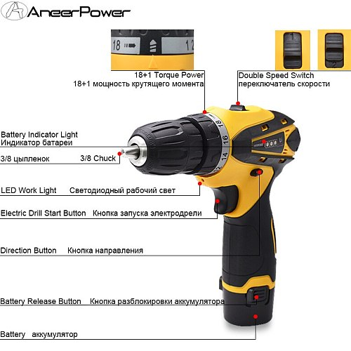 12v Multifuctional Cordless Screwdriver Home Power Tools Drill Mini Batteries Screwdriver 1.5Ah Battery Capacity Electric Drill