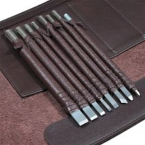 Hot 8/10PCs Carved Stone Files Knife Tungsten Steel Carving Files Knife Chisel Craft Tools Leather Case For Engraving