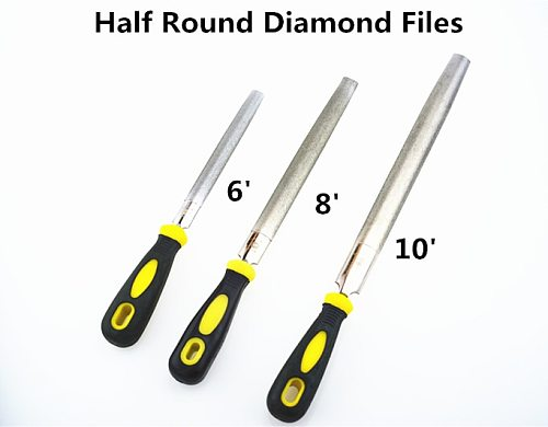 Big Diamond Half Round Files 6/8/10 inch long Handy Tools for Ceramic Glass Gem Stone Hobbies and Crafts Carving Jewelry Diamond